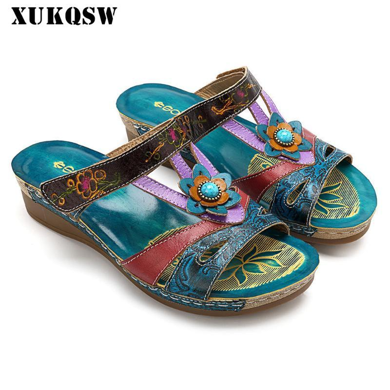Woman Slippers Flower Platform Colorful Ethnic Flat Shoes 42 Woman Comfortable Casual Fashion Sandals Female 2020 Summer Sandals