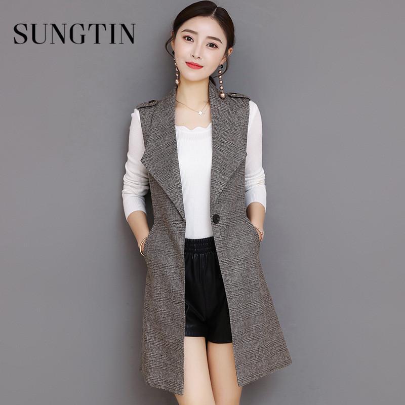 Sungtin كلاسيكي منقوشة طويل السترة سترة المرأة أكمام سترات أنيقة مكتب سيدة معطف أنثى صدرية السببية الدعاوى زائد الحجم