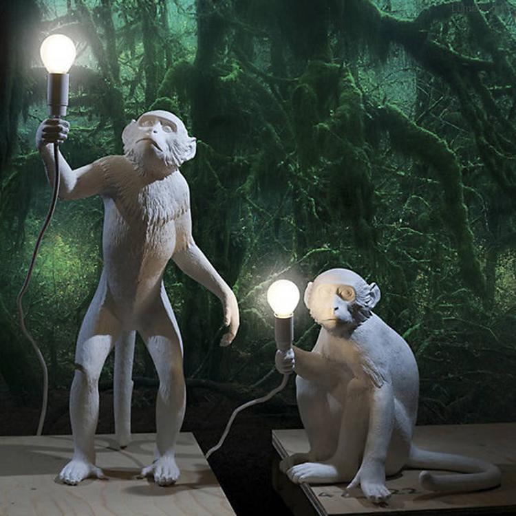 Seletti Maymun Lambalar Beyaz Maymun Daimi Lambası Restaurant Bar Villa Otel Aydınlatma Lambader Armatür FA020