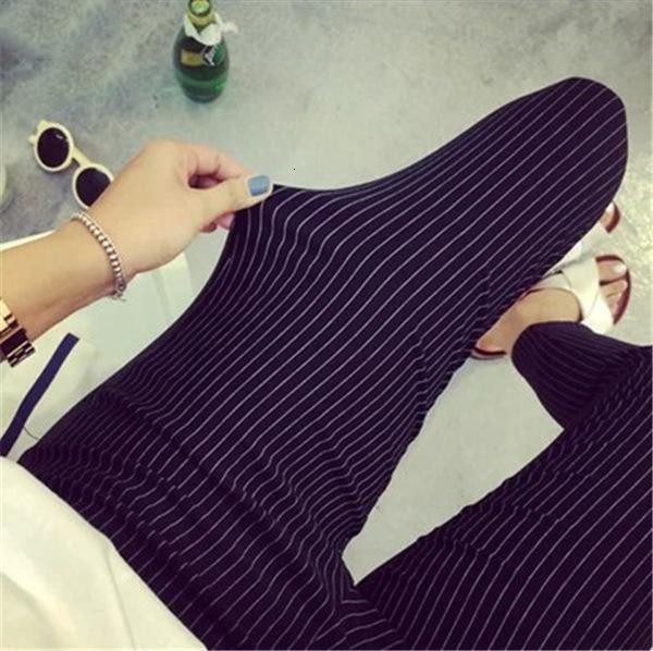 Pantalones casuales pantalones de primavera y verano de 2019 nuevas mujeres rayado vertical Mujer Lápiz altura del tobillo pantalones blancos Negro Drop Shipping