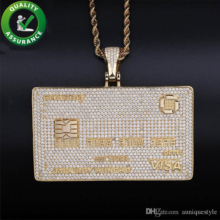 VISA Card fuori ghiacciato del pendente di Hip Hop degli uomini di lusso del progettista collana Mens diamante dei pendenti della catena di Bling personalizzato Rapper Hiphop collana Boy