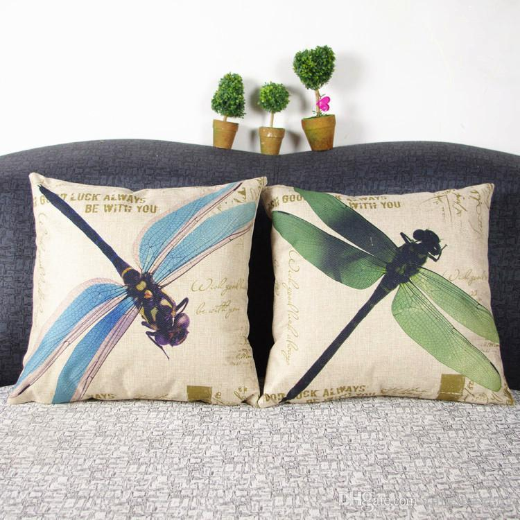 colores estados del petróleo estadounidense libélula ilustraciones pintura almohada carcasa, ya la funda de almohada de edad de cosecha de lino mezcla de fibras cubierta cojín del sofá