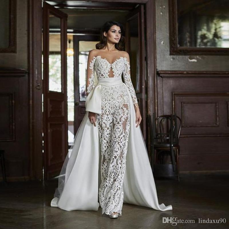 Lace Mermaid Detachable Train Wedding Dresses Jewel Neck Full Sleeve Vestido de festa Wedding Gowns Bride Pants Bridal Dress