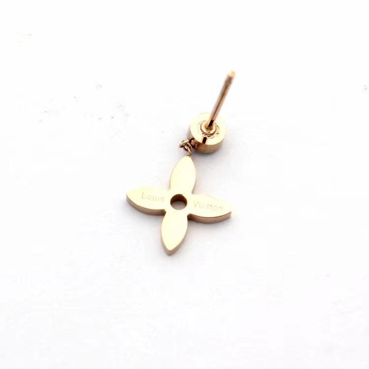 di design di lusso donne gioielli orecchini in argento a quattro foglie di orecchini fiore in acciaio inossidabile oro rosa Elagant asimmetrica vite prigioniera del diamante con scatola