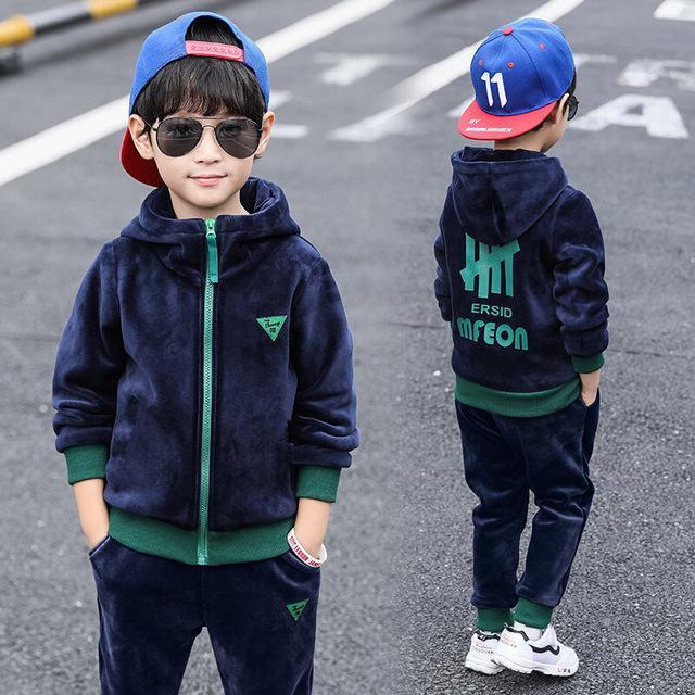 Meninos Vestuário conjuntos Primavera Outono crianças casuais grossas hoodies veludo + calças 2pcs fatos de treino para bebés crianças ternos de esportes 2019 outfits