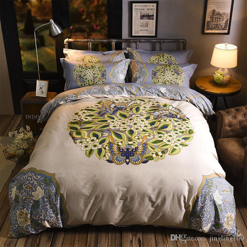 2019 neue Mode-Muster-Serie vierteilige Bettwäsche Luxus Quilt Set Blume 100% Baumwolle Bettwäsche Outlet Life Sets New Home Dekor
