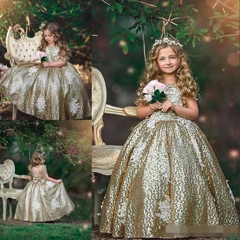 Sparkly Gold Sequins Flower Girls Abiti gioiello collo backless Pageant Ball Gown Bambina Principessa Compleanno Party Abbigliamento formale