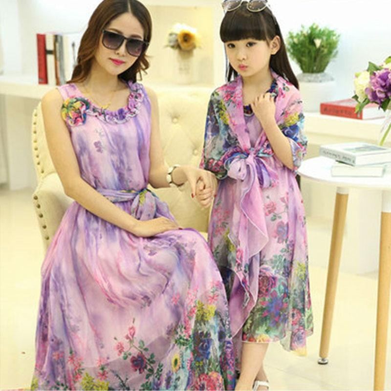 Mother Daughter Dot Print Chiffon Dress Summer Backless Family Matching Dresses Mommy And Me Clothes Family Look Outfits VS123