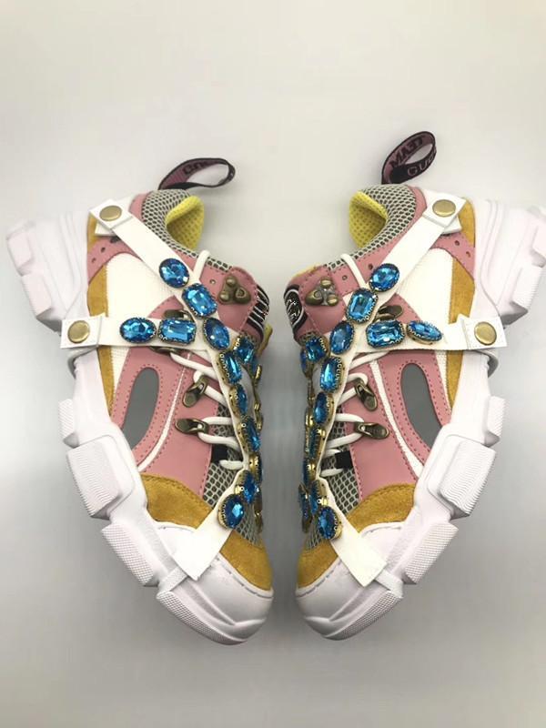 Новые FlashTrek дизайнер кроссовок с Съемные Crystals Mens Роскошная обувь Повседневная мода Роскошный дизайнер Женская обувь Кроссовки 04