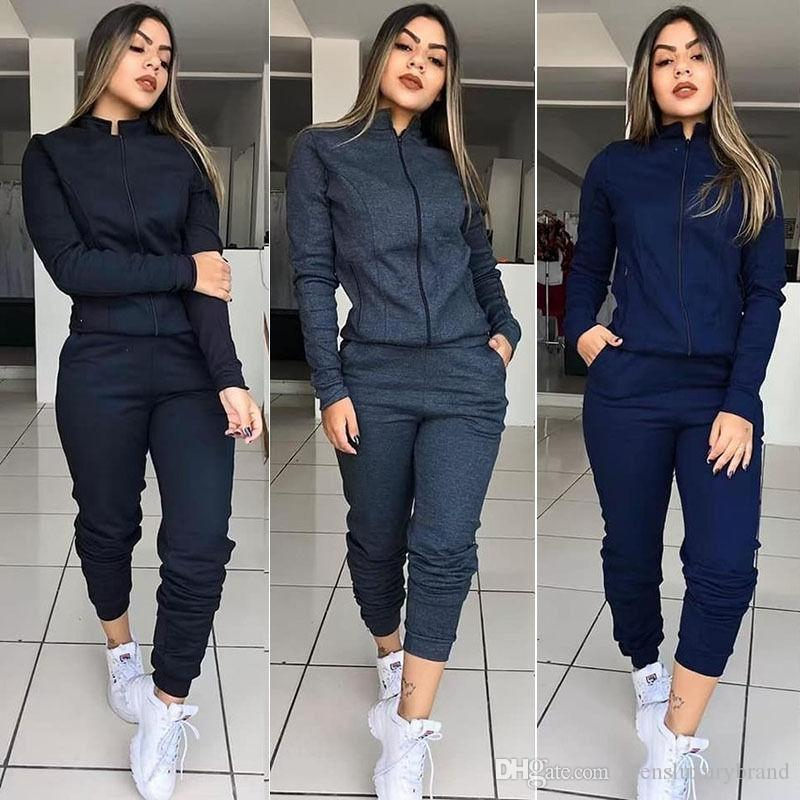 اللون إمرأة مصمم رياضية كم طويل الياقة حامل مجموعات النسائية الرياضية الصلبة النساءيه عارضة مجموعات قطعة اثنين