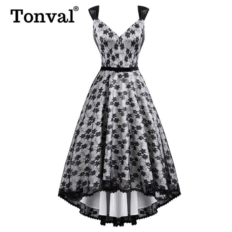Tonval Floral Lace Overlay High Low Hem Midi Sexy Ladies Long Dresses Party Night Banquet Elegant Women Vintage Dress