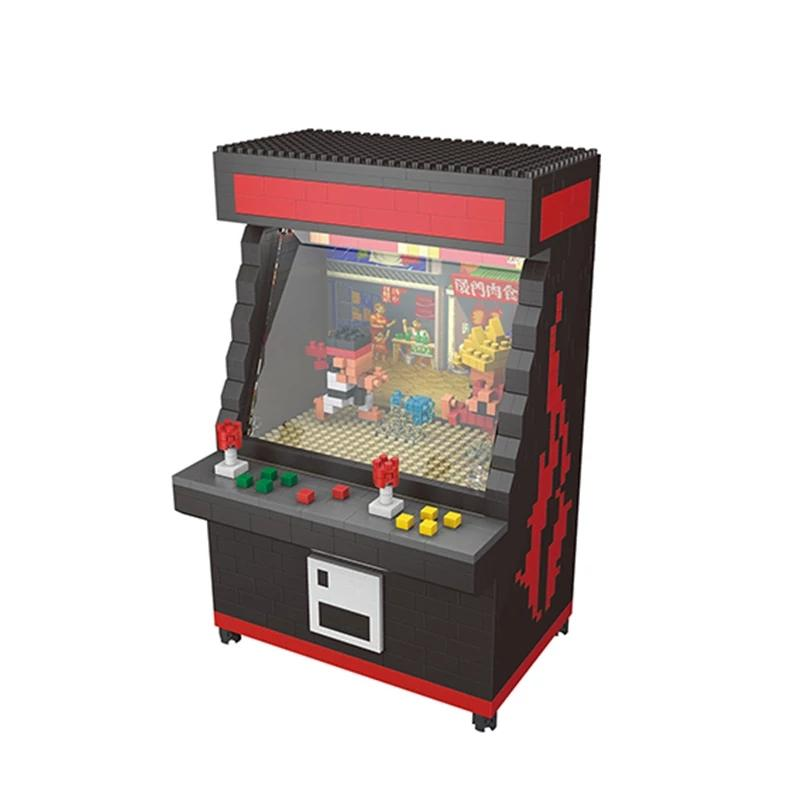 Building Toy Arcade Street Fighter Game Machine DIY Diamond Racing Game Car Motorcycle MacMini Building Nano Blocksy DIY Toys With Color Box