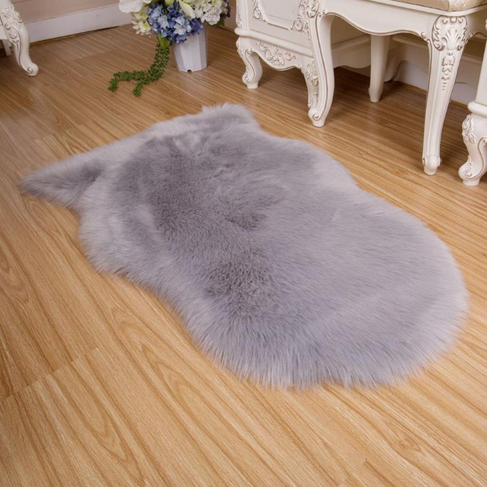 Rahat Kilim Paspas Halı Yapay Koyun Taklit Yün 60 * 40 * 2 Poliakrilonitril Elyaf Yatak Sandalye Ev Dekorasyon