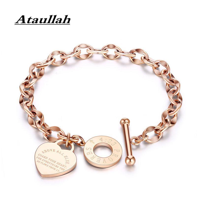 Ataullah Fashion Love Heart Bracelet for Women Alloy Thick Rolo Bracelets Chain Bangles Female Jewelry Bible Lettering BW046