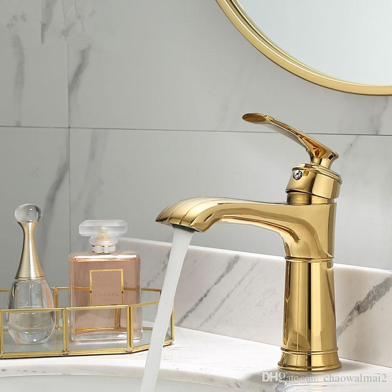 Basin Faucet Gold Bathroom Mixer solid copper Luxury North Europe style Brass Tap Sink Taps Basin Mixer