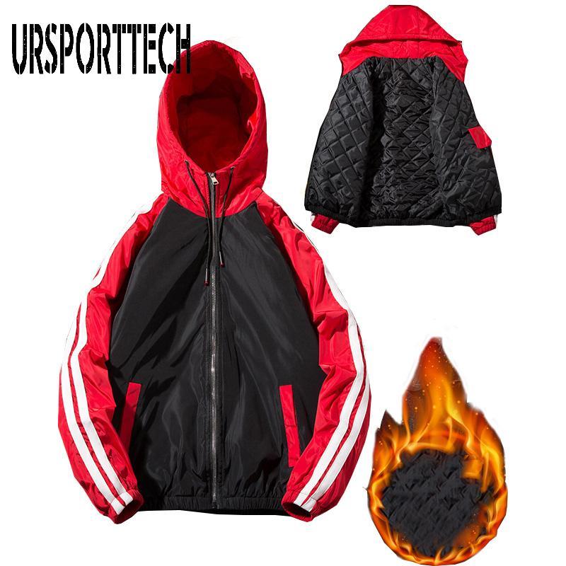 URSPORTTECH algodão acolchoado Jacket Mens casacos e jaquetas de outono e inverno New capuz Jovens Estudantes Windbreaker maré Men Jacket