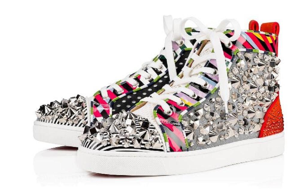 Mutil Spikes Hallo Top mit Nieten Spikes Leder-beiläufige Ebene-rote Unterseite Sneaker Luxus-Schuhe neu für Männer Frauen mit Spikes Freizeit Mode Party