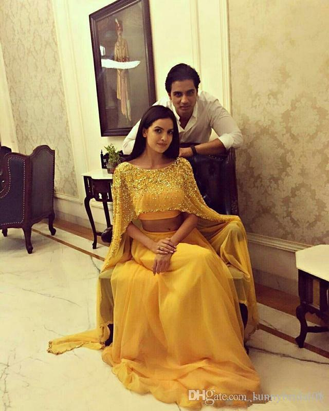 Sexy Yellow Saudi Arabian Prom Dresses Beaded Crop Top Long A Line Two Pieces Boat Neck Chiffon Elegant Evening Formal Dress with Cape 2019