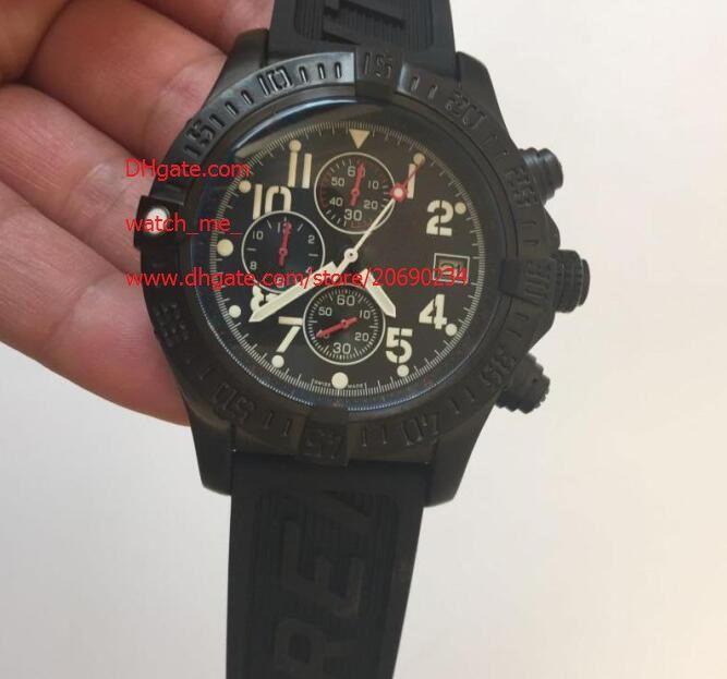 Fornitore della fabbrica di lusso superiore qualità da polso al quarzo 44 millimetri Cronografo Quadrante Nero Band Acciaio Mens Watch Orologi cinturino in caucciù