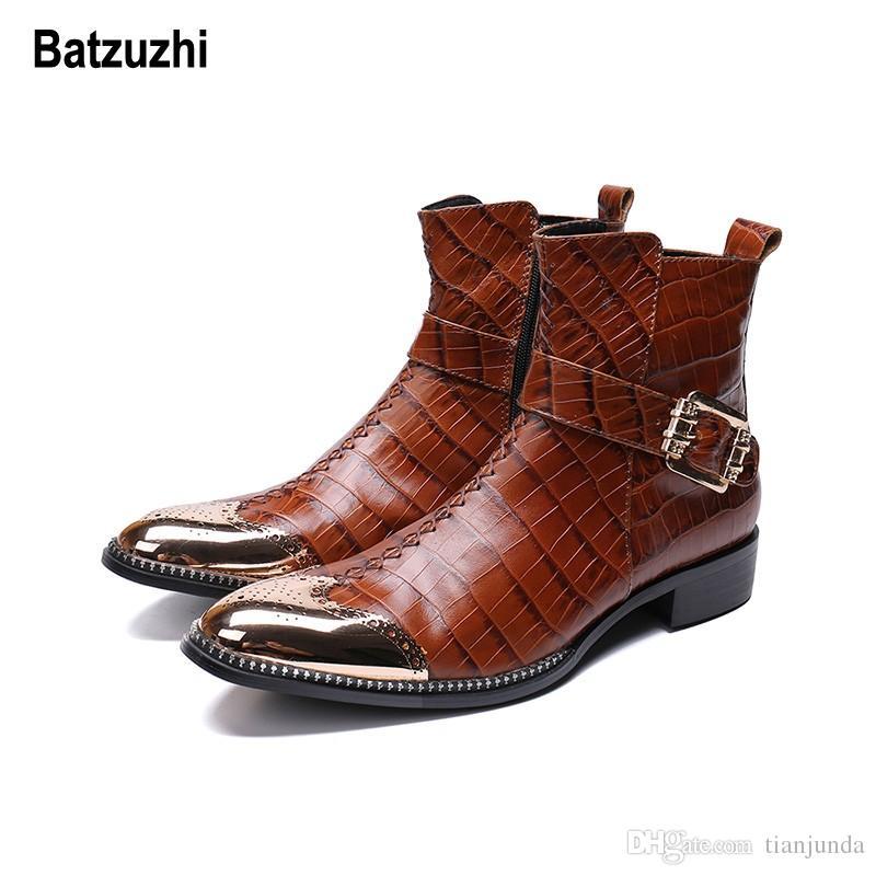 Batzuzhi Handsome Winter Boots Uomo Rome Brown Stivali in vera pelle da uomo Stivali da cowboy in metallo con punta a punta in metallo Cool, US12