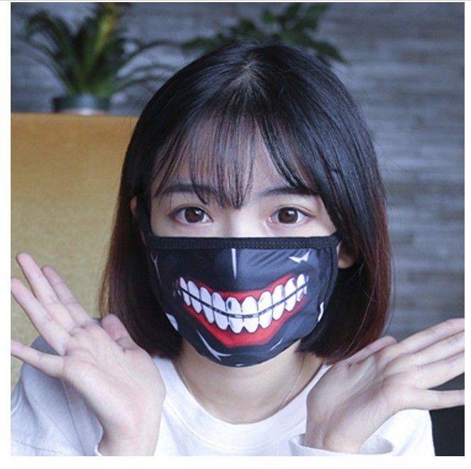 Оптовая Токио вурдалак Kaneki Кен Horror Halloween Cosplay маска Зима Хлопок Смешная Разминка Рот Anti-Dust маска с молнией D059