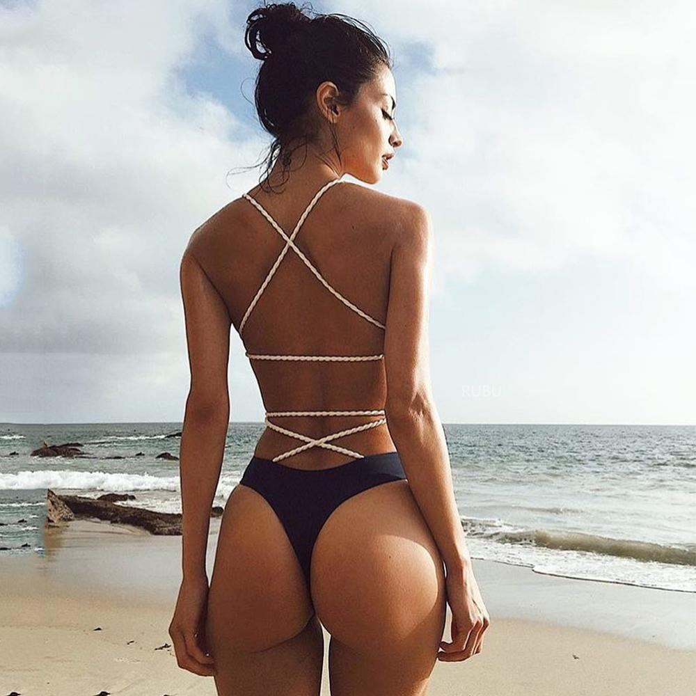 Sexy Badeanzug Schwarz Monokini Backless Trikini 2018 Bademode Frauen Bikinis Thong Triquini weiblich Bandage Badeanzüge Y200613
