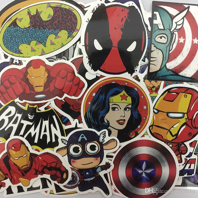 100 قطعة / المجموعة ملصقات مارفيل سوبر هيرو dc لل سيارة محمول دفتر شارات الثلاجة سكيت باتمان سوبرمان هالك الرجل الحديدي