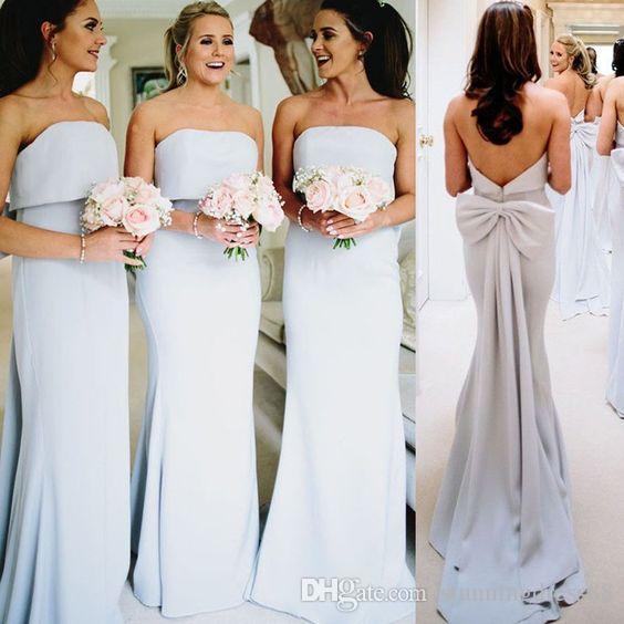 Discount Designer abiti da sposa senza spalline in raso Figura intera maniche lunghe sposa economici Ospite Party Prom Dress damigelle d'onore