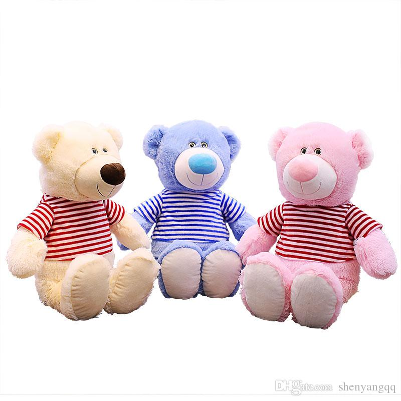 60cm Big Soft Teddy Bear With Clothing Pink Blue Brown High Quality Stuffed Plush Animals Gift for Kids