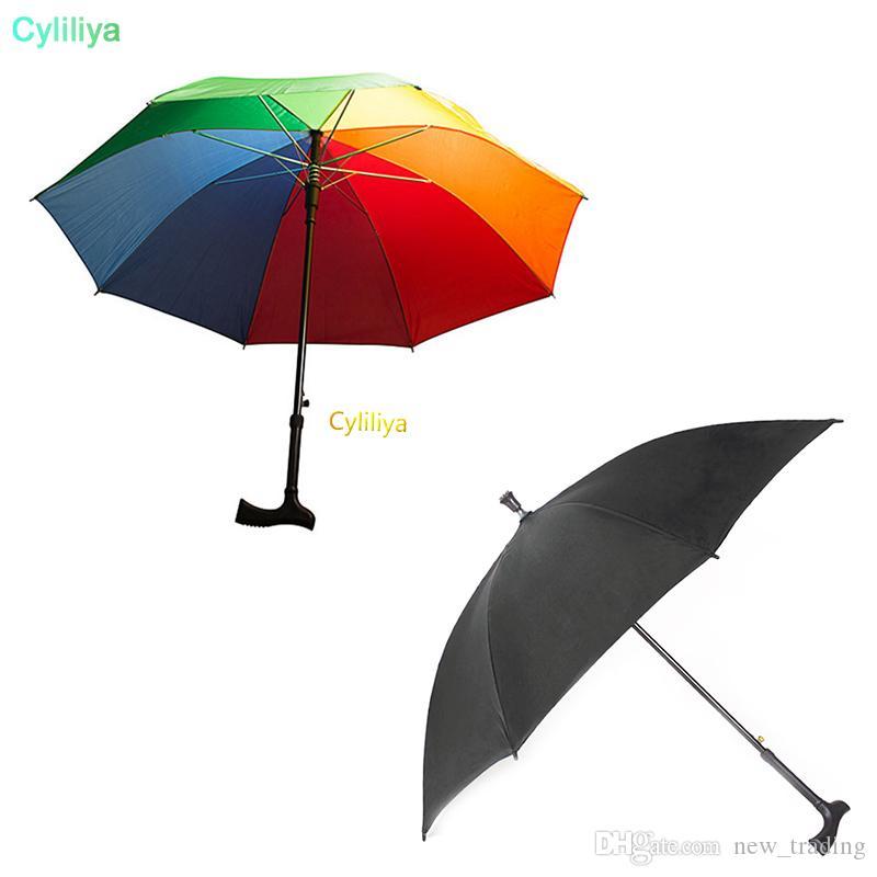 2 في 1 العكاز مظلة تسلق المشي لمسافات طويلة عصا المظلات والتعامل مع طويل في الهواء الطلق صامد للريح المضادة للأشعة فوق البنفسجية مظلة RainSun