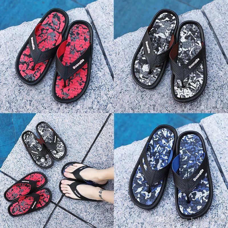 top quality designer Brand sandals men sandals striped sandals black red speckle slippers flip flops summer Wading shoes Beach slippers