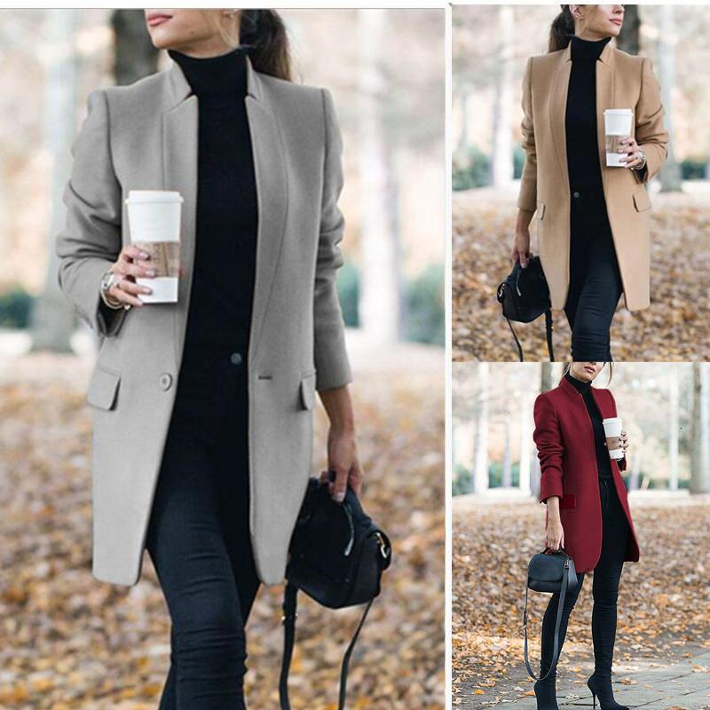Winter Coats and Jackets Women 2019 Plus Size Long Wool Coat Warm Korean Elegant Vintage Coat Female Cloak Cape Khaki Jacket Y191129
