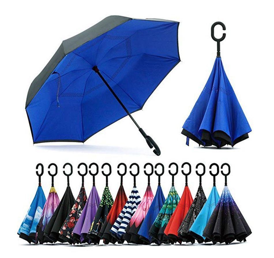Reverse Umbrella C handle Windproof Reverse Rain Sunscreen Protection Folding Double-layer Inverted Household Sundries LJJP66