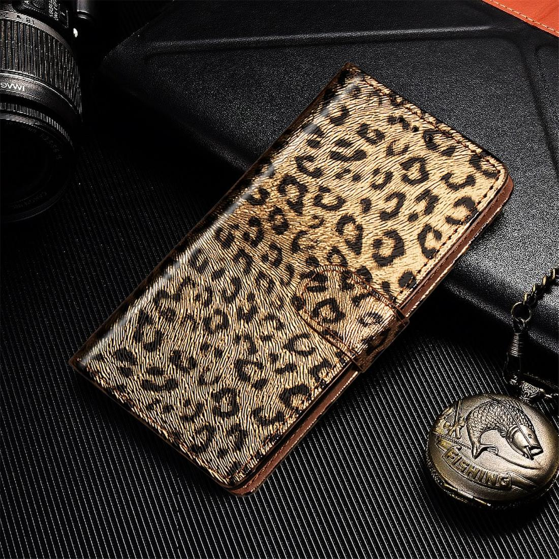 For iPhone 11 Leopard Flip Stand Mobile Phone Case with Lanyard Card Slot Photo Frame