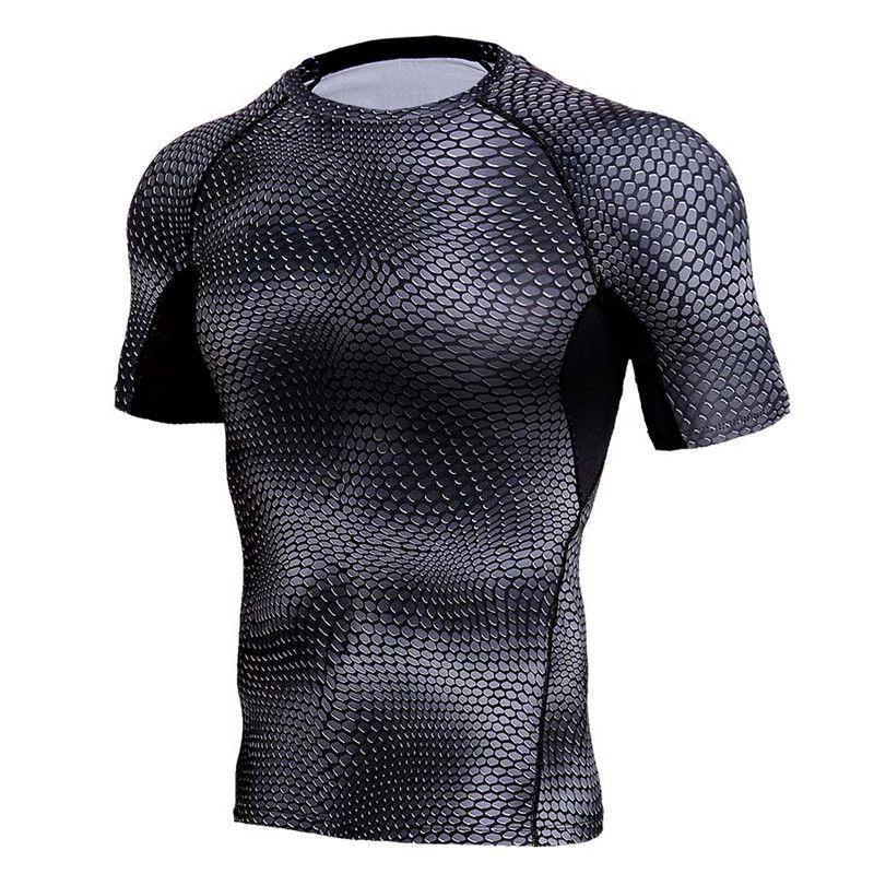 3D Print Short Sleeve T Shirt Sport Compression Shirt Men Running fitness Quick Dry Rashgard Man Tank Tops Tees GYM Sportswear