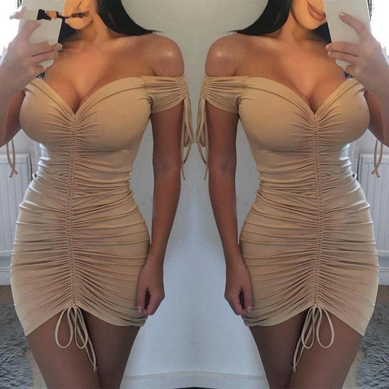 UK Frauen, figurbetontes Bleistiftkleid Damen Sommer Clubwear Minikleid Damen Sommer Sexy Kleider Polyester V-Ausschnitt Kleider