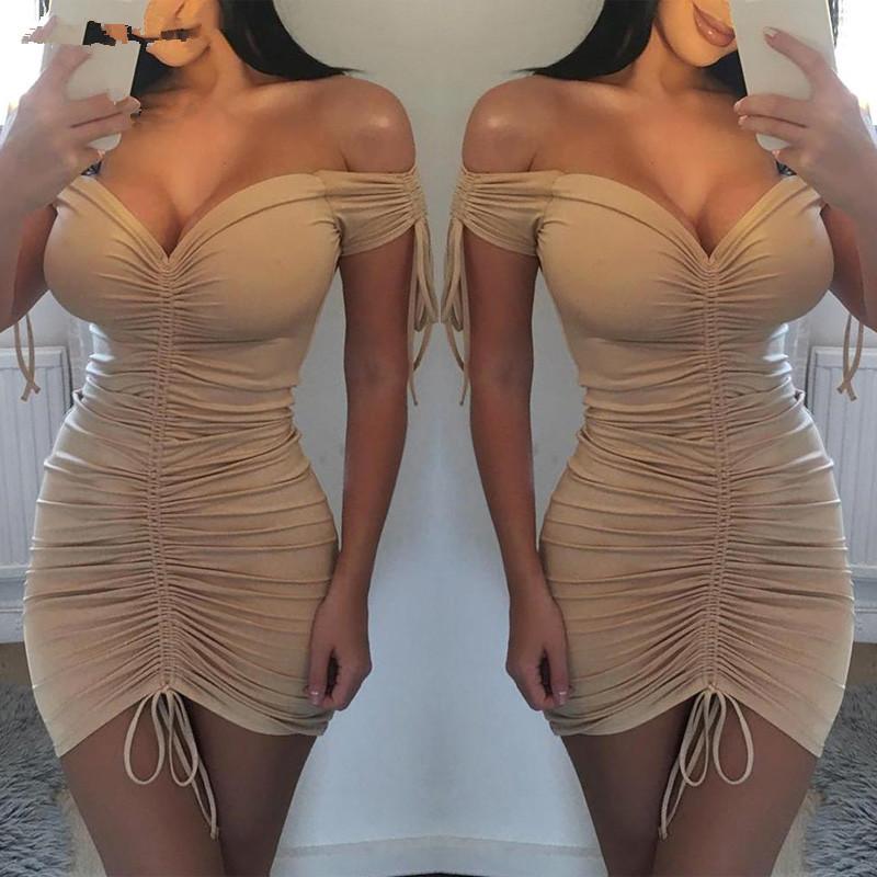 Великобритания Женщины Bodycon Panking Платье Дамы Летние Клубовое одеяние Мини-Платье Женщины Летние Сексуальные Платья Полиэстер V-образным вырезом Платья XIPVO
