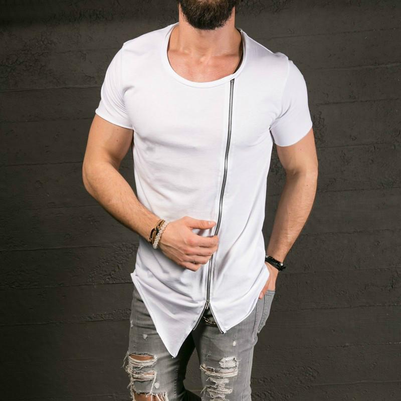 2019 Cotton Tee Men's Fashion Show Stylish Long T shirt Asymmetrical Side Zipper Big Neck Short Sleeve T-shirt Male Hip Hop Tee wholesale