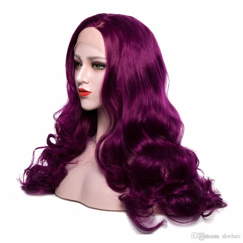 Abordable synthétique dentelle perruques avant couleur pourpre à long corps Heat Wave fibres résistant pur perruques de couleur pour les femmes naturelles Hairline