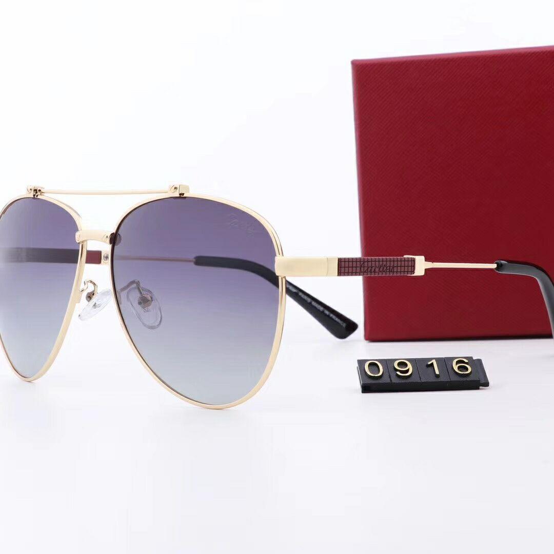Piyasa En iyi kalite cam mercek güneş gözlüğü Tasarımcı Moda Altın Frame Erkekler ve Kadınlar için Mavi Ayna Güneş Yeni Liste