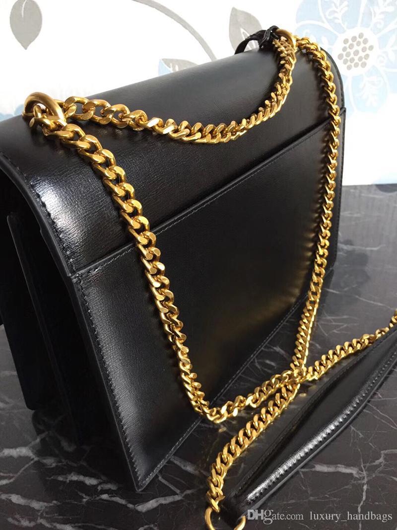 جلد طبيعي حقائب جلدية جلد البقر حقيبة يد الذهب سلسلة سلسلة فضية عنابي نساء حقائب الكتف