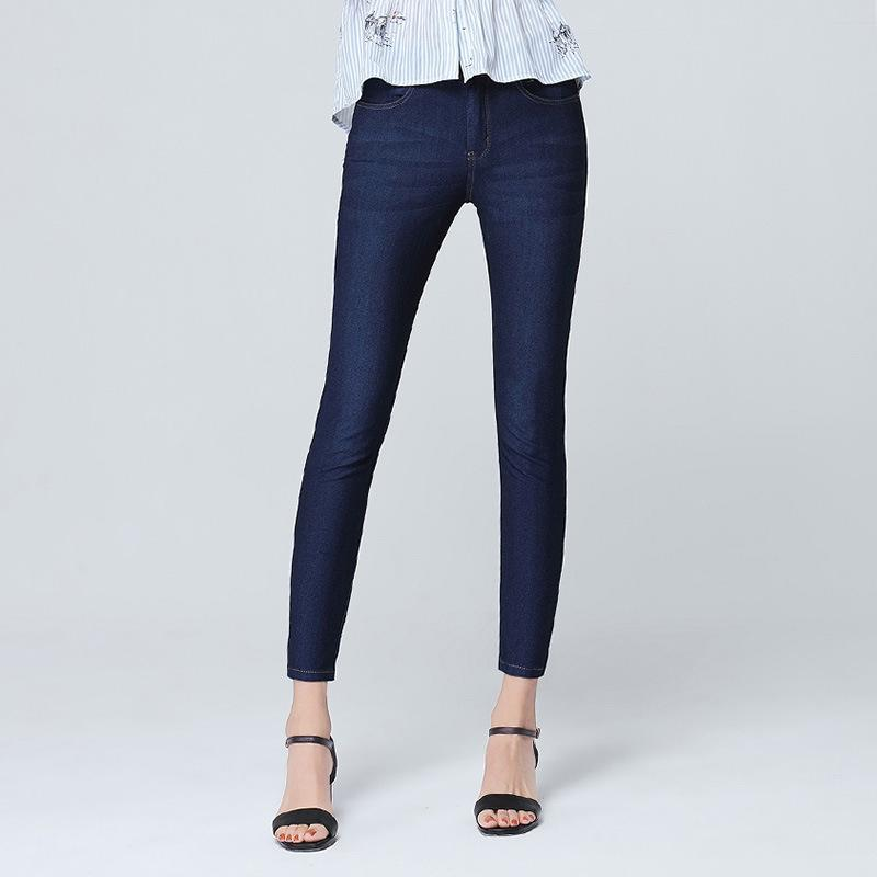 Pants new ice silk thin section jeans female nine points high waist stretch feet pants fashion popular trend pants
