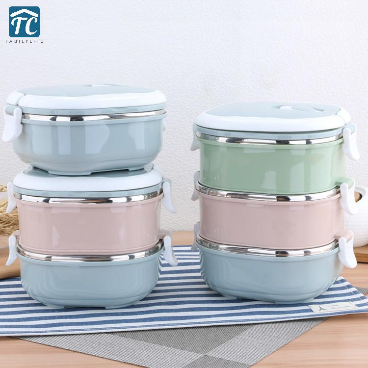 Stainless Steel Square Lunch Box Anti-overflow Buckle Colorful Mixable Picnic School Dinnerware Food Container Storage Bento C18112301