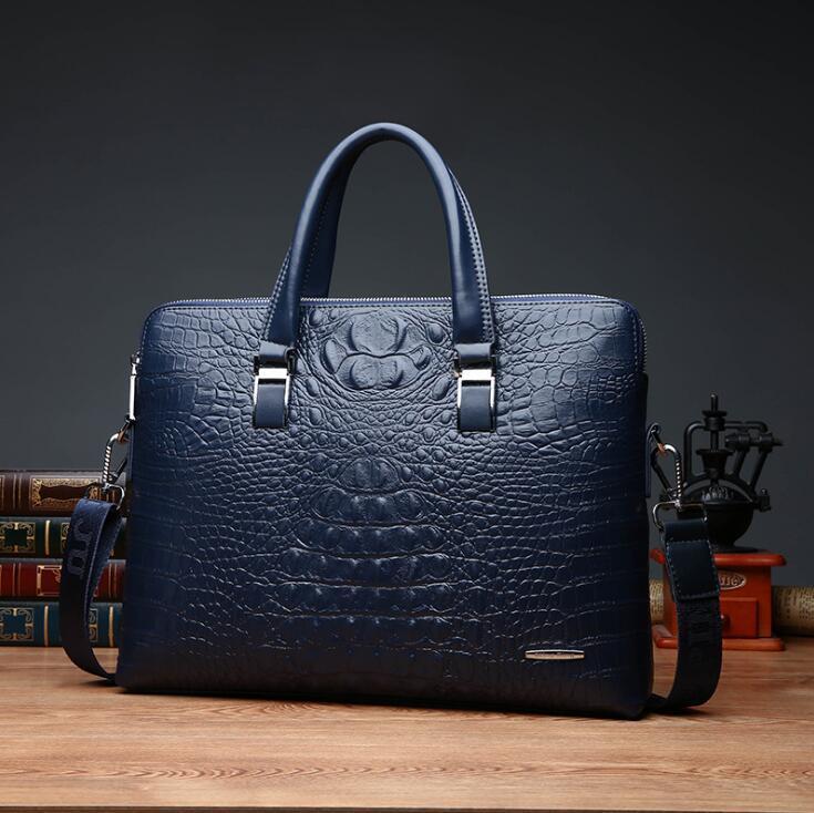 wholesale brand pack fashion crocodile print business briefcase trendy cross section crocodile leather man handbag multi function laptop bag