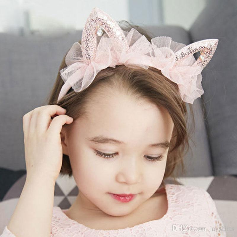 Belle princesse rose cheveux Sticks oreilles de chat mignon Mesh strass Bandeaux pour les filles Mode Bébé Enfants Hairband