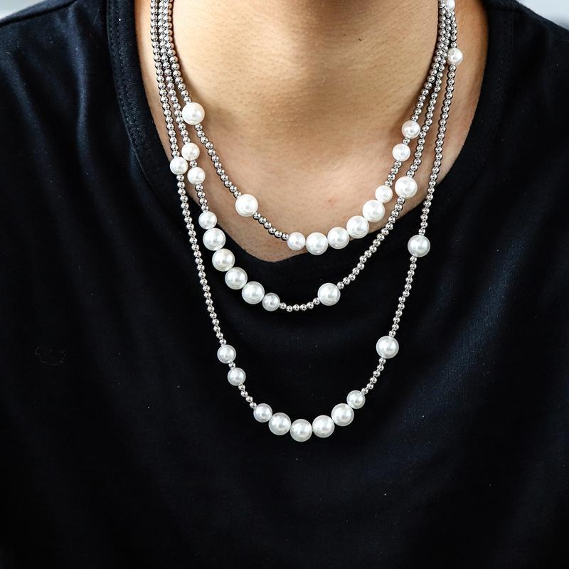 Mens Collana di perle di Hip Hop sfera in acciaio inossidabile collana in rilievo clavicola gioielli catena monili della collana di Hip Hop