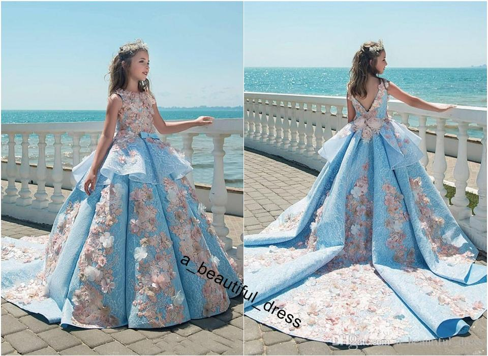 Blue Lace Girls Pageant Dresses Ball Gown Children Birthday Holiday Wedding Party Dresses Teenage Princess Toddler Dresses SweepTrain FG1279