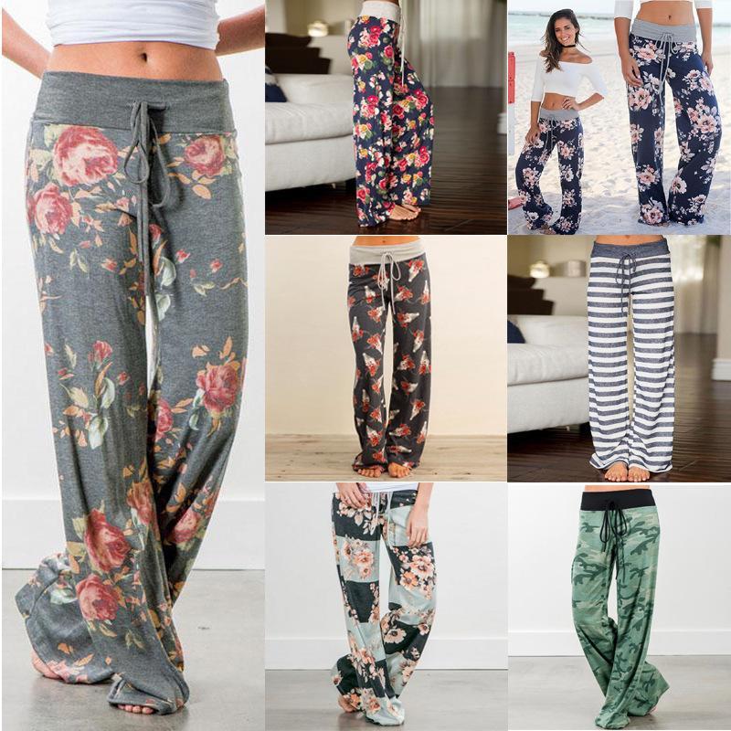 2019 mujeres de la manera más el tamaño flojo ocasional flor impreso cordón suave ancho de la pierna pantalones largos rectos de cintura alta pantalones de otoño Y19051701