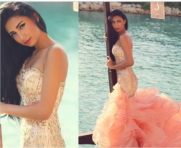 Sexy Mermaid Peach Ruffle One Shoulder 2019 Prom Dress Evening Dress Gown Formal Sleeveless Crystal Organza Modern Evening Gown
