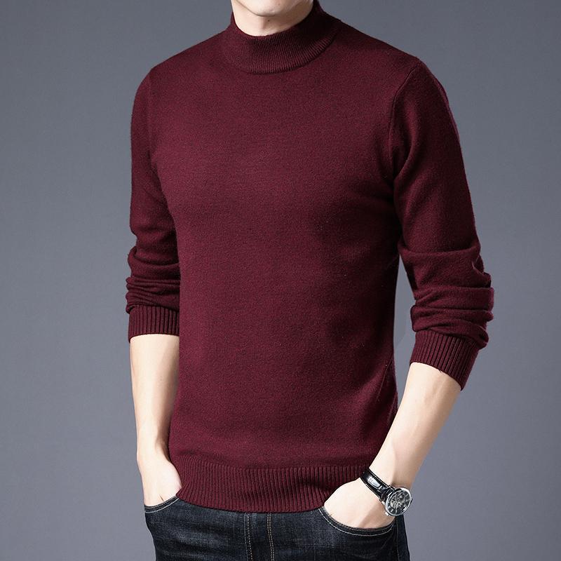 2020 maglione di cachemire degli uomini ispessito inverno mezza collo di mezza età Pullover Maglione Pure Color